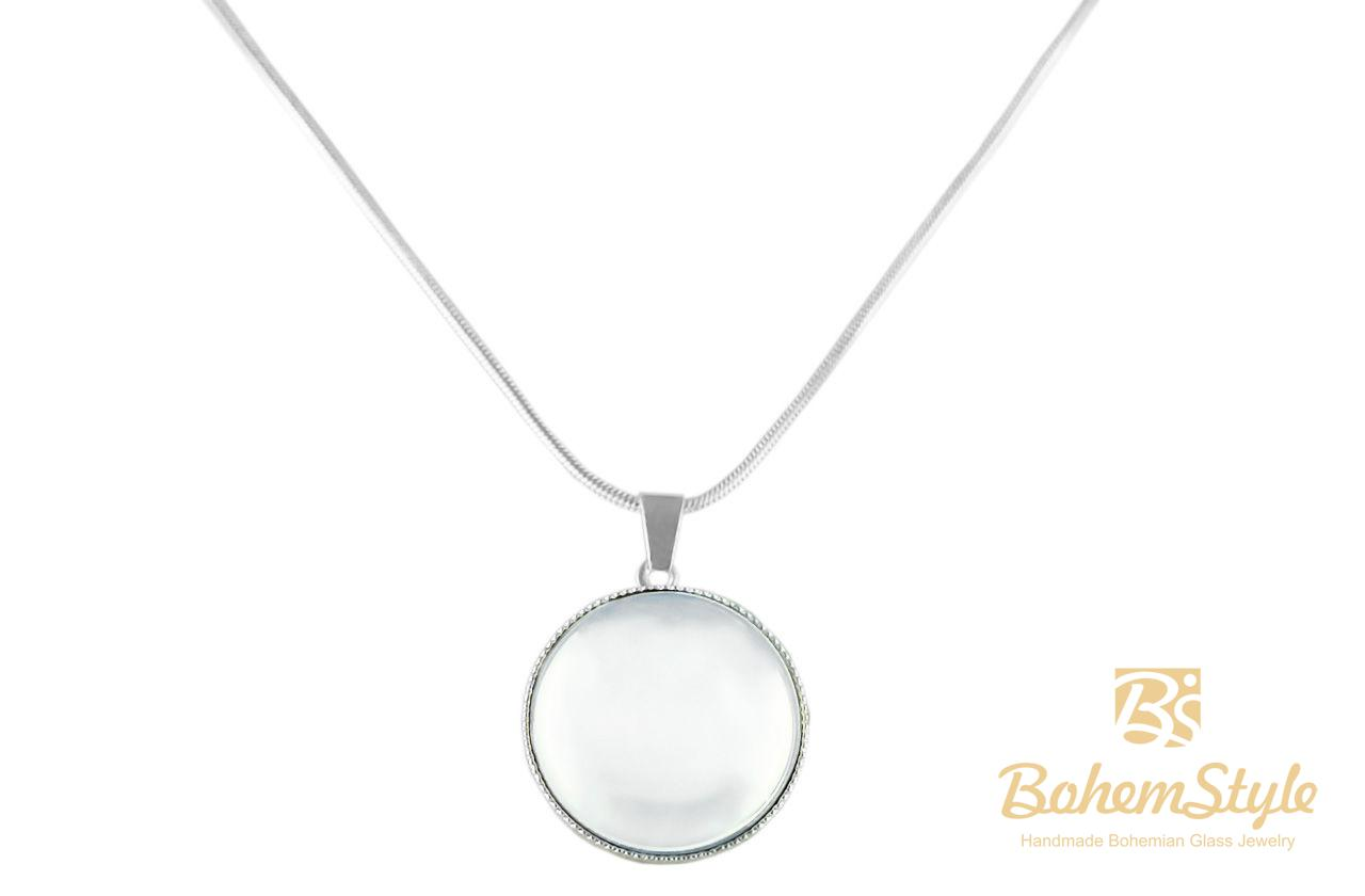 925 silver plated snake chain 42cm round pendant necklace 20mm 925 silver plated snake chain 42cm round pendant necklace 20mm crystal mirror czech glass stone handmade bohemstyle for sale and wholesale bohemstyle aloadofball Gallery